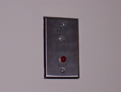 Photo of E.J. Corey's Office Door Traffic Light