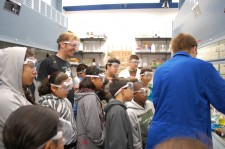 The West Side Science Club visits a chemistry lab at Caltech. Photo credit: Carolyn Patterson